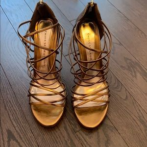 Chinese Laundry Bronze Strappy Heels